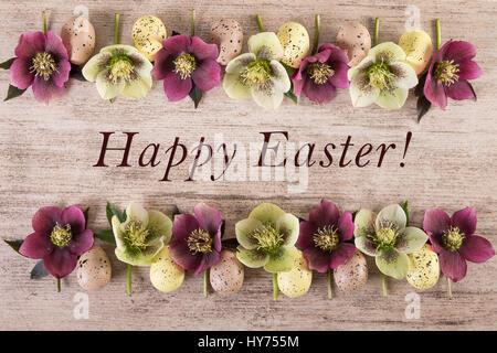 Easter Background Happy Spring Flowers Arrangement On Light Brown Rustic