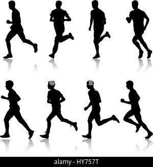 Set of silhouettes. Runners on sprint, men. vector illustration - Stock Photo