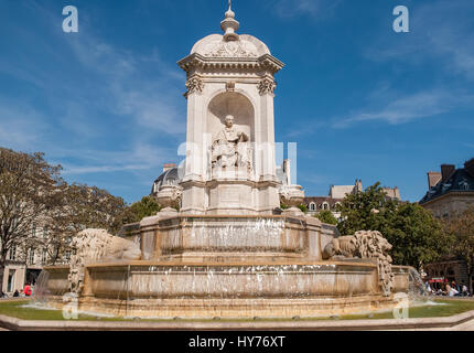 Place Saint Sulpice, fountain, Paris - Stock Photo