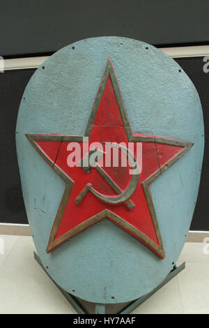 Soviet red star, Bow ship decoration battleship. Tradition of decorating ships - Stock Photo