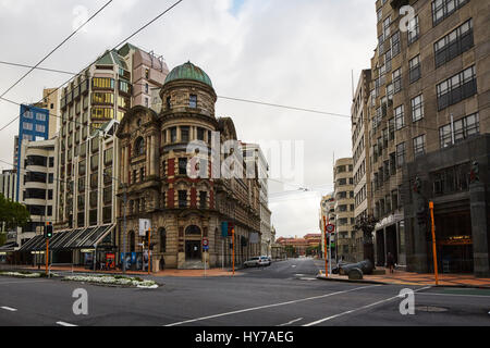 Public Trust Building, Lambton Quay, Wellington, New Zealand - Stock Photo