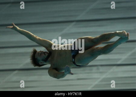 Kazan, Russia. 1st Apr, 2017. Canada's Francois Imbeau-Dulac competes in the men's 3m springboard final at the 2017 - Stock Photo