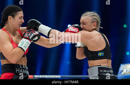 Dortmund, Germany. 1st Apr, 2017. Christina Hammer (l) from Germany and Maria Lindberg from Sweden in action during - Stock Photo