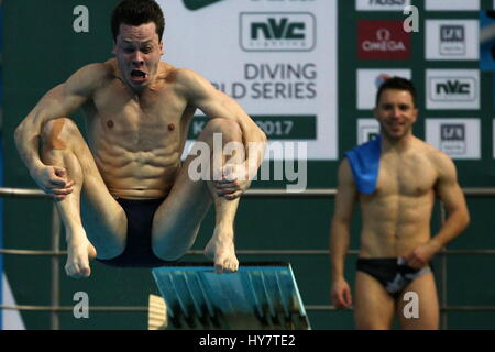 Kazan, Russia. 1st Apr, 2017. Germany's Patrick Hausding competes in the men's 3m springboard event at the 2017 - Stock Photo