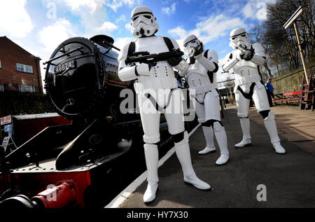 Bury, Lancashire, UK. 02nd Apr, 2017. It's steam... but not as you know it at the annual Sci-Fi On The Sidings event - Stock Photo