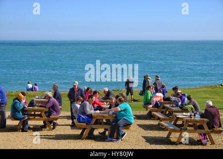 Portland Bill, Dorset, UK. 2nd Apr, 2017. Visitors flock to Portland Bill as the good weather continues in the South - Stock Photo