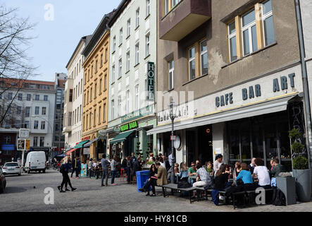 Berlin, Germany. 31st Mar, 2017. View of the Oranienburger Strasse in Berlin, Germany, 31 March 2017. Photo: Jens - Stock Photo