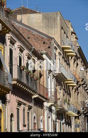 Haus Fassaden house facades catania sicily italy hausfassaden sizilien stock