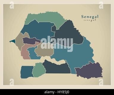 Modern Map - Senegal with regions colored SN - Stock Photo