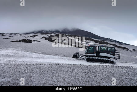 Snowy caterpillar, Torre del Filosofo, main crater, Etna, Sicily, Italy, Schneeraupe, Hauptkrater, Sizilien, Italien - Stock Photo