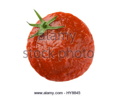 Ketchup stain forming a tomato shape - Stock Photo