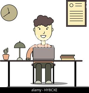 Boy smiling and doing homework with laptop. Back to school flat illustration of young people who study in university - Stock Photo