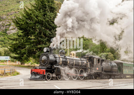 Kingston Flyer in Kingston, New Zealand. This well-preserved steam train from the 1870's , previously a popular - Stock Photo