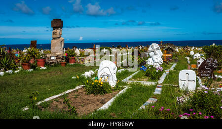 A view of the cemetary on Easter Island , Chile. - Stock Photo