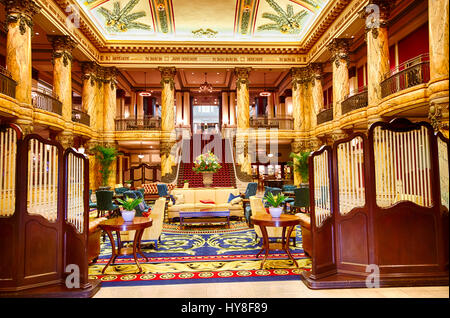 Richmond, Virginia.  Lobby of Jefferson Hotel, Opened 1895. - Stock Photo