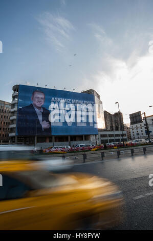 Turkish referendum posters of Yes campaign of Recep Tayyip Erdoğan in Istanbul Turkey - Stock Photo