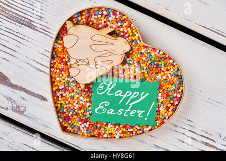 Sprinkle dots happy easter card heart box and plywood rabbits box with sweets easter card sprinkle dots white wood background romantic easter negle Choice Image