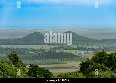 Panoramic view of the tobacco valley in Vinales Cuba - Stock Photo