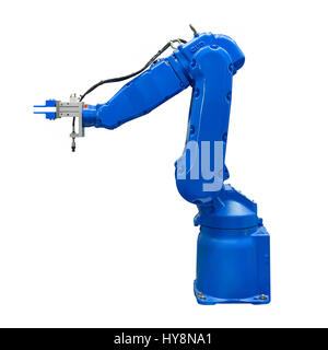 Blue industry robotic arm isolated included clipping path - Stock Photo