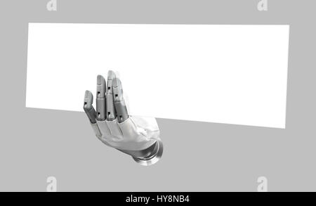 Robotic hand holding blank sign to put your word or logo, isolated background - Stock Photo