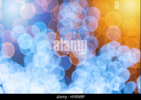 Blue bokeh background created by neon lights - Stock Photo