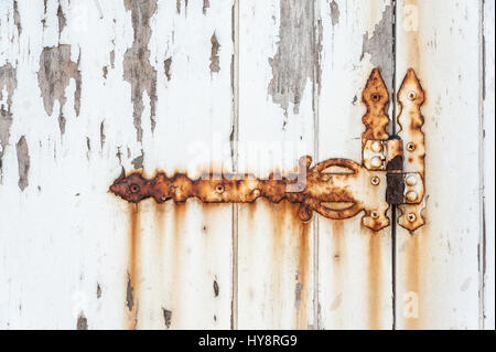 Old rusted grunge hinge on a white door - Stock Photo
