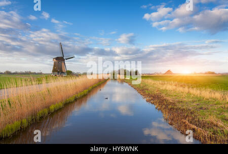 Windmills at sunrise. Rustic landscape with dutch windmills near the water canals, yellow reeds and blue cloudy - Stock Photo