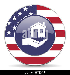 House care usa design web american round internet icon with shadow on white background. - Stock Photo