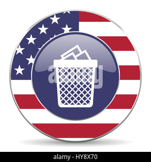 Trash can usa design web american round internet icon with shadow on white background. - Stock Photo