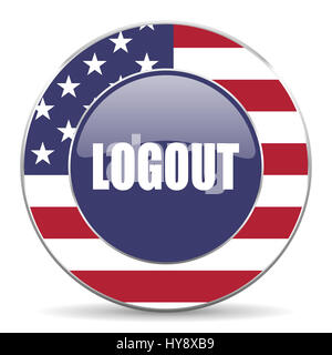 Logout usa design web american round internet icon with shadow on white background. - Stock Photo