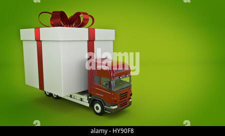 Presents delivery service concept, truck with a gift box. 3d rendering - Stock Photo