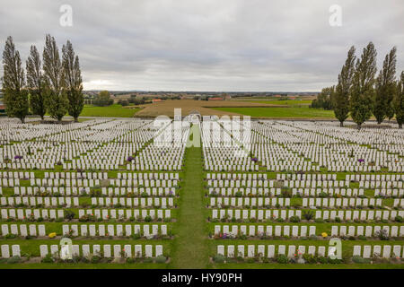 Tyne Cot Commonwealth War Graves Cemetery and Memorial to the Missing is the largest cemetery for Commonwealth forces - Stock Photo