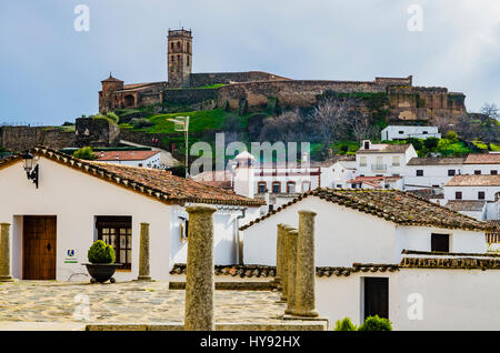 The castle - mosque seen from the village of Almonaster la Real, Huelva, Andalusia, Spain, Europe - Stock Photo