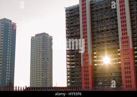 Red Road Flats under demolition, Glasgow. - Stock Photo