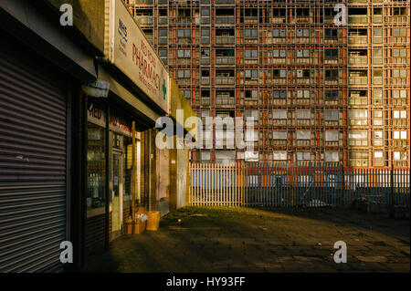 Pharmacy at the Red Road Flats, the only shop open on the estate. - Stock Photo