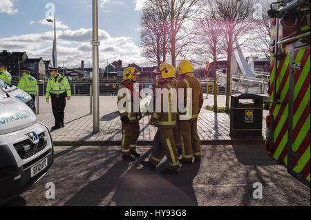 Police, Fire and Ambulance Services attending an emergency in Glasgow City Centre. - Stock Photo