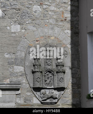 Historic moulding on the walls of The Tholsel in Kilkenny, Ireland.   The building was originally built for collecting - Stock Photo