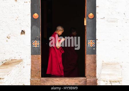 A young novice Buddhist monk in a doorway in the Paro Dzong, Paro, Bhutan. - Stock Photo