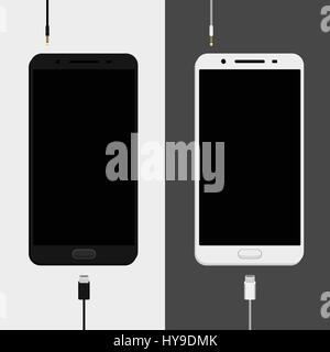 Two smartphones mockups, black and white versions with charge cables micro usb and earphones jack plug. Smartphones - Stock Photo