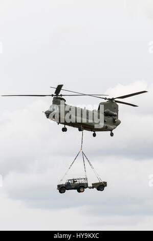 RAF Chinook deploying RAF Regiment Troops - Stock Photo