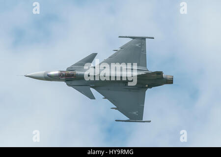 Saab JAS 39 Gripen is a light single-engine multirole fighter aircraft manufactured by the Swedish aerospace company - Stock Photo