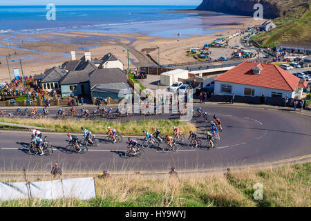 Cleveland England UK April 2nd 2017: The Cleveland Klondike Grad Prix cycle race for professional riders took place - Stock Photo