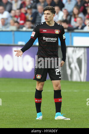 Leverkusen, Germany2nd April 2017, Bundesliga, matchday 2, Bayer 04 Leverkusen vs VfL Wolfsburg: Kai Havertz (B04) - Stock Photo