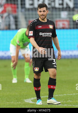 Leverkusen, Germany2nd April 2017, Bundesliga, matchday 2, Bayer 04 Leverkusen vs VfL Wolfsburg: Kevin Volland (B04). - Stock Photo