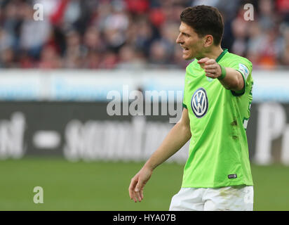 Leverkusen, Germany2nd April 2017, Bundesliga, matchday 2, Bayer 04 Leverkusen vs VfL Wolfsburg: Mario Gomez (Wolfsburg) - Stock Photo