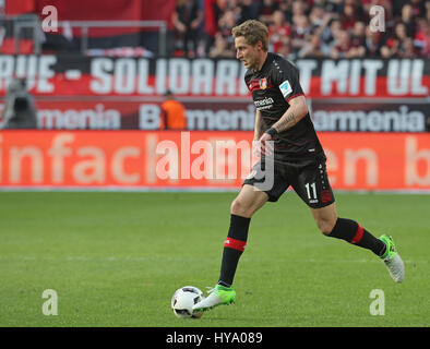 Leverkusen, Germany2nd April 2017, Bundesliga, matchday 2, Bayer 04 Leverkusen vs VfL Wolfsburg: Stefan Kiessling - Stock Photo