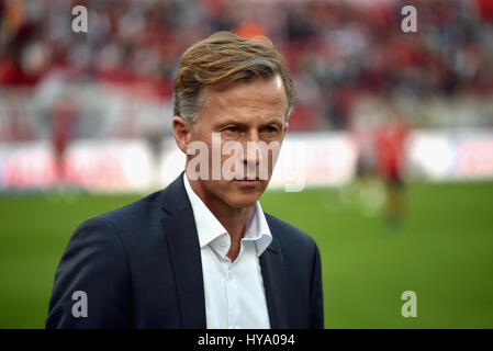 Leverkusen, Germany2nd April 2017, Bundesliga, matchday 2, Bayer 04 Leverkusen vs VfL Wolfsburg: Manager Andries - Stock Photo