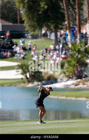 April 02, 2017 Suzann Petterson of Norway hits an approach shot on the sixth hole during the final round of the - Stock Photo