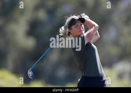 April 02, 2017 Suzann Petterson of Norway hits a tee shot on the sixth hole during the final round of the 2017 ANA - Stock Photo