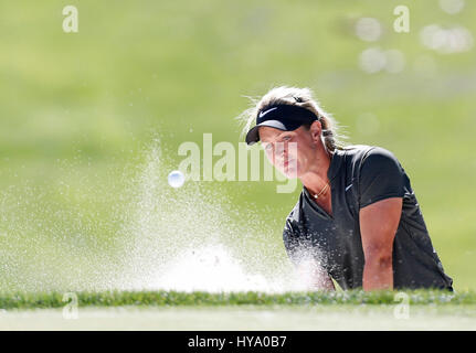 April 02, 2017 Suzann Petterson of Norway hits out of a bunker on the eighth hole during the final round of the - Stock Photo